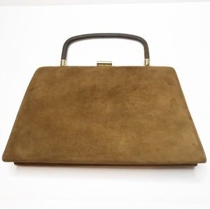 Vintage Town & Country Shoes Tan Suede Hand Bag
